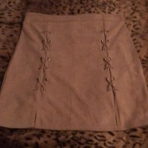 Mini skirt soft material with sued look size large